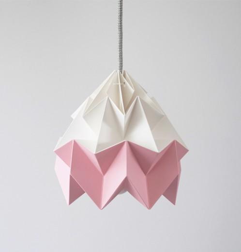 Moth gevouwen papieren origami lamp wit / roze