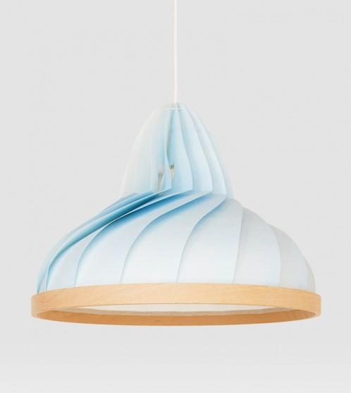 Wave lamp van papier en hout pastel blauw