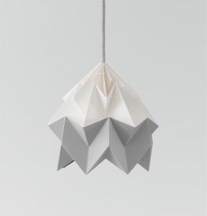 Moth gevouwen papieren origami lamp wit / grijs