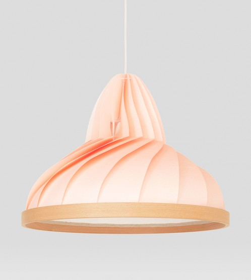 Wave lamp paper and wood pastel pink