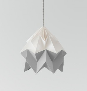 Moth paper origami lamp white / grey