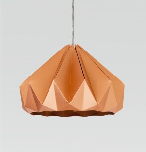 Chestnut paper origami lampshade shiny copper