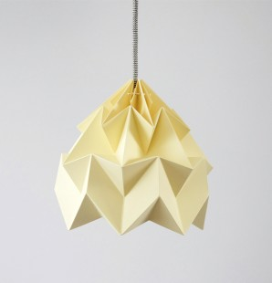 Moth paper origami lamp canary yellow