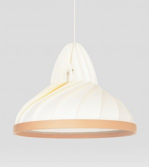 Wave lamp paper and wood white