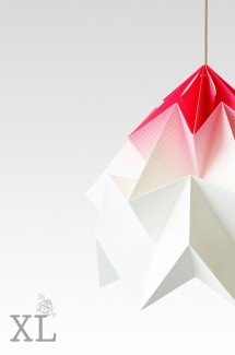 Moth XL paper origami lamp gradient pink