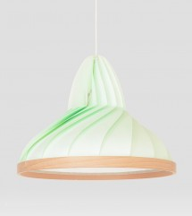 Wave lamp paper and wood pastel green