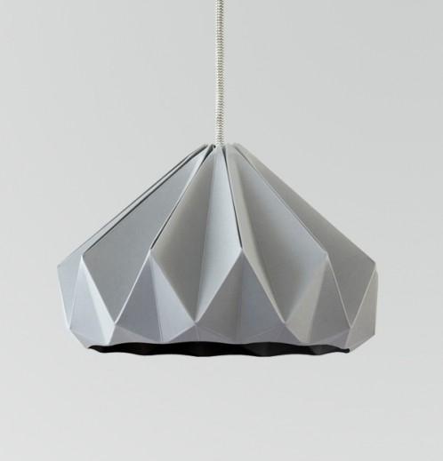 Chestnut gevouwen papieren origami lamp grijs
