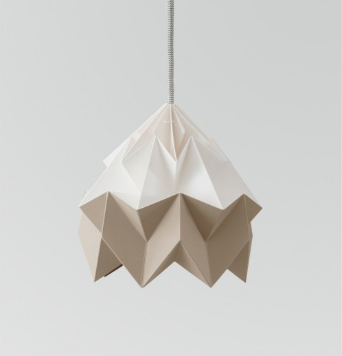 Moth papieren origami lamp wit / bruin