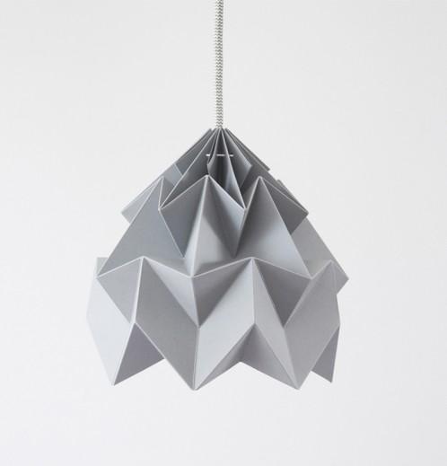 Moth gevouwen papieren origami lamp grijs