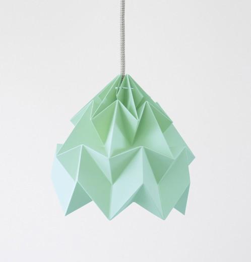 Moth gevouwen papieren origami lamp mint