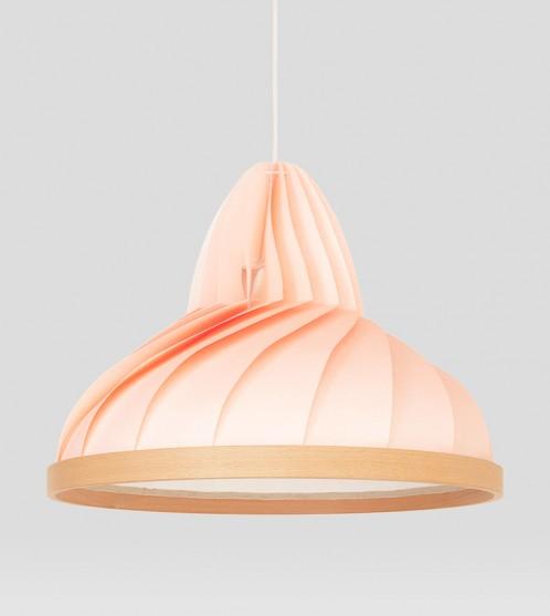 Wave lamp van papier en hout pastel roze