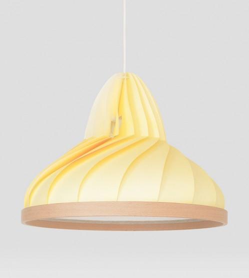 Wave lamp van papier en hout pastel geel