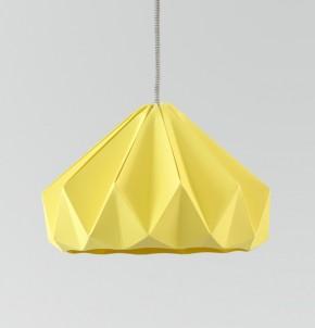 Chestnut gevouwen papieren origami lamp herfstgeel