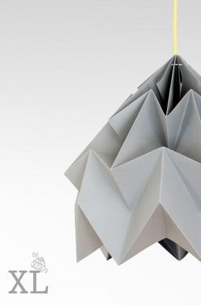 Moth XL gevouwen papieren origami lamp grijs