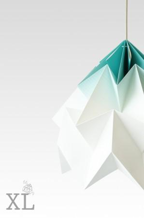 Moth XL gevouwen papieren origami lamp gradient mint
