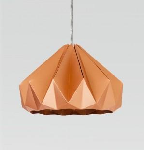 Chestnut gevouwen papieren origami lamp koper