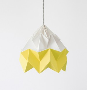 Moth gevouwen papieren origami lamp wit / herfstgeel