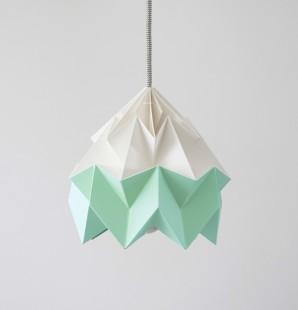 Moth gevouwen papieren origami lamp wit / mint