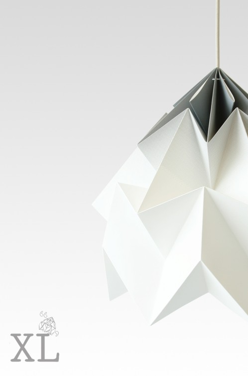 Moth XL paper origami lamp gradient grey