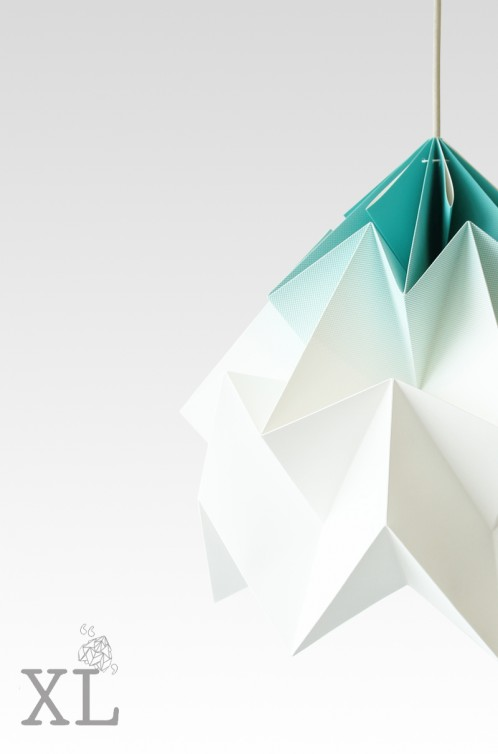 Moth XL paper origami lamp gradient mint