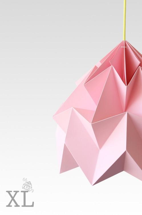 Moth XL paper origami lamp pink