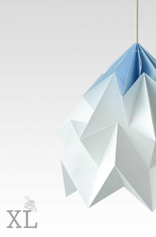 Moth XL paper origami lamp gradient blue
