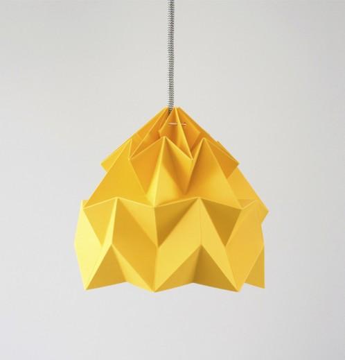 Moth paper origami lamp gold yellow