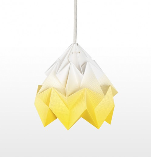 Moth paper origami lamp gradient yellow