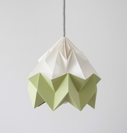 Moth paper origami lamp white / autumn green