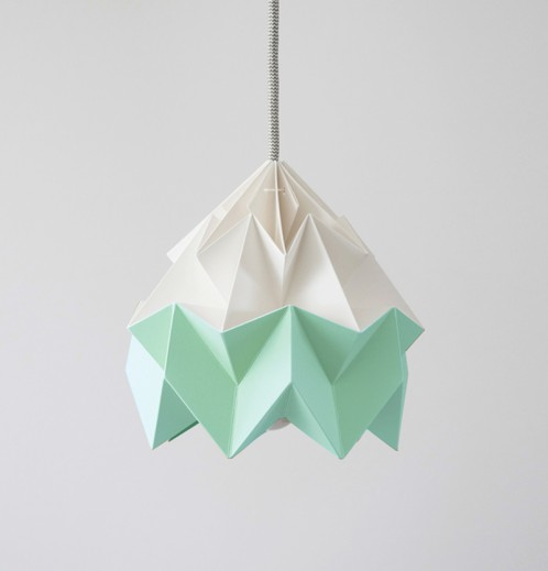 Moth paper origami lamp white / mint