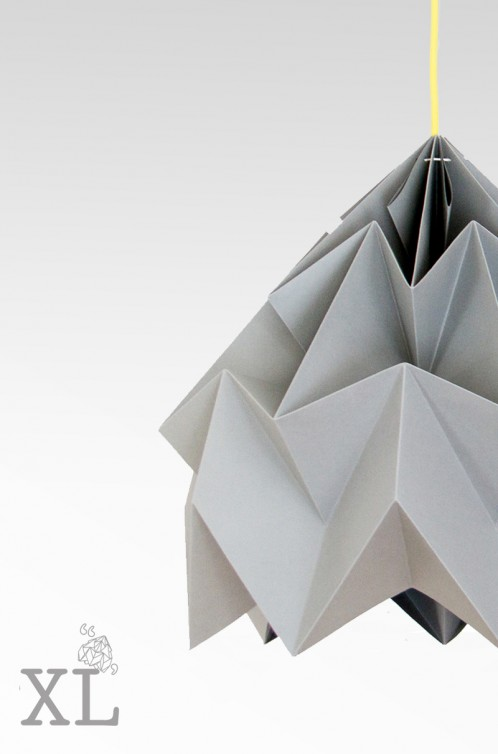 Moth XL paper origami lamp grey