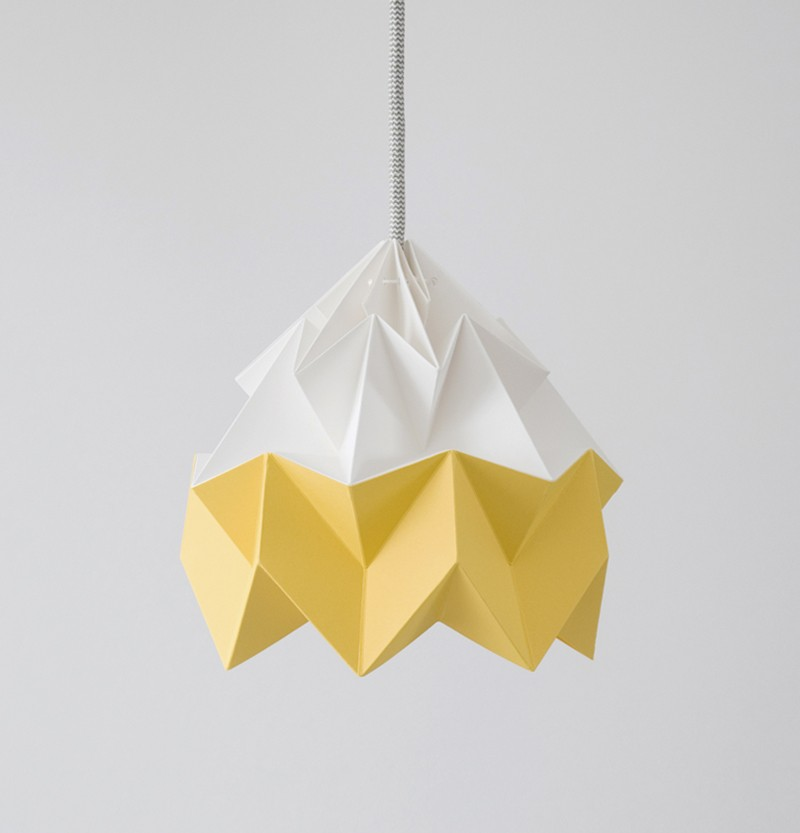 Moth Paper Origami Lamp White Gold Yellow