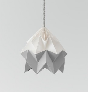 Moth paper origami lamp white / grey
