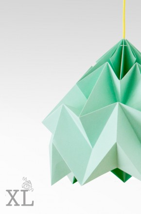 Moth XL paper origami lamp mint