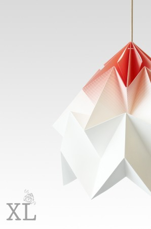 Moth XL paper origami lamp gradient coral