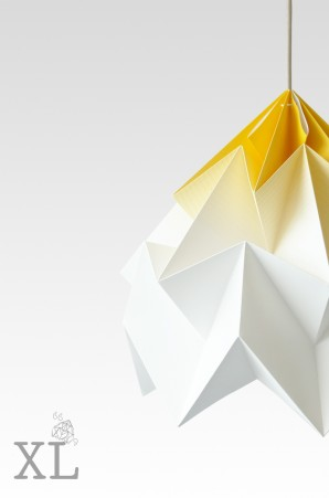 Moth XL paper origami lamp gradient yellow