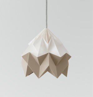 Moth paper origami lamp white / brown