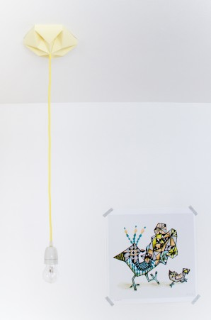 FIY Kroonuppe: paper ceiling rose canary yellow
