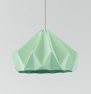 Chestnut paper origami lampshade mint green