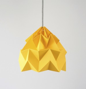 Moth paper origami lamp gold yellow