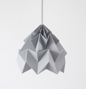 Moth paper origami lamp grey